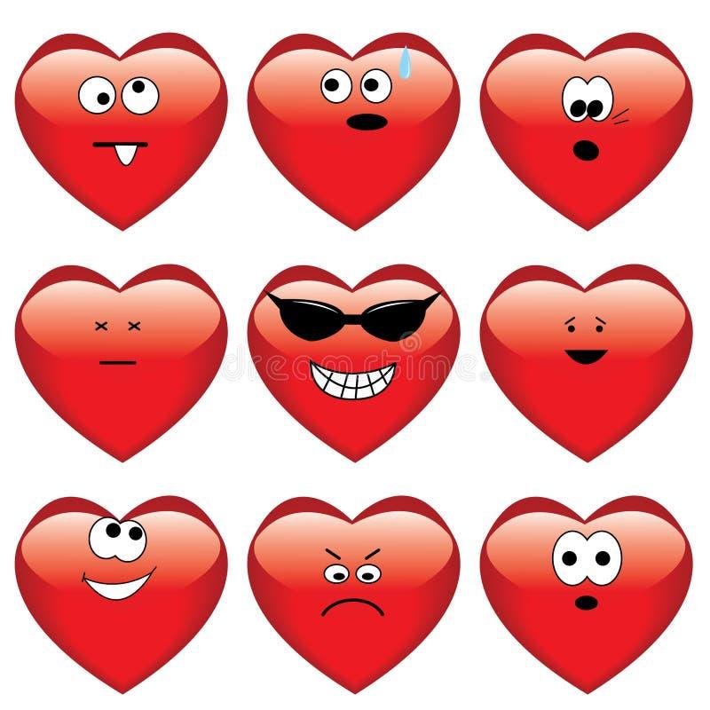 Jogo de nove corações dos desenhos animados ilustração stock