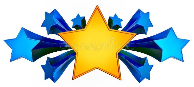 Jogo de nove estrelas brilhantes do ouro no movimento ilustração stock