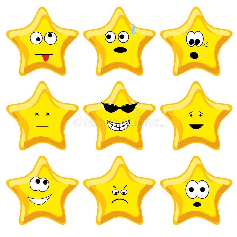 Jogo de nove estrelas do ouro dos desenhos animados ilustração royalty free