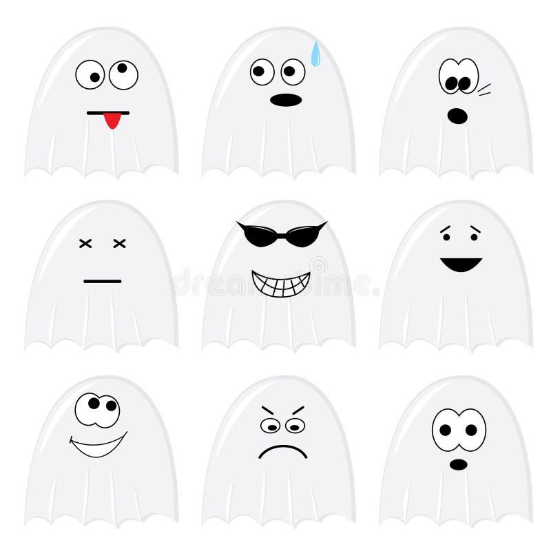Jogo de nove fantasmas dos desenhos animados ilustração stock
