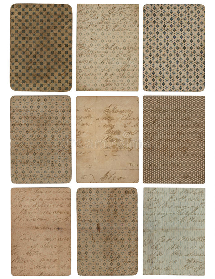 Jogo de nove fundos da textura do teste padrão do vintage imagem de stock