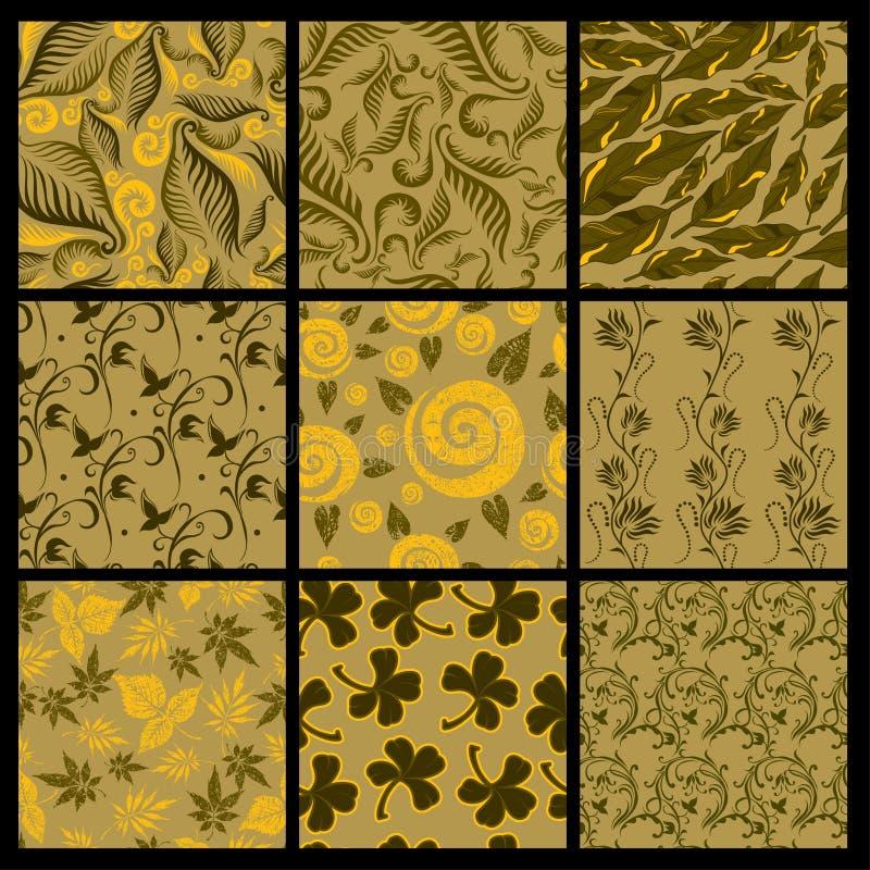 Jogo de nove testes padrões sem emenda das folhas
