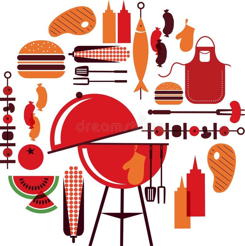 Jogo de objetos do BBQ ilustração stock