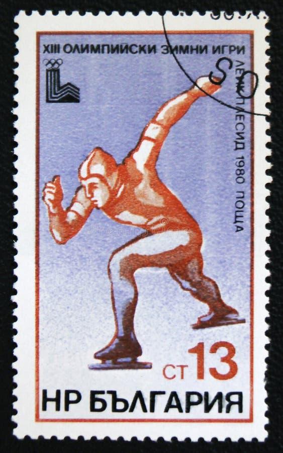 Jogo 1980 de Olimpic em Moscou Esporte de patinagem das mostras Cerca de 1980 imagem de stock royalty free