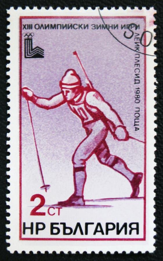 Jogo 1980 de Olimpic em Moscou Esqui das mostras Cerca de 1980 fotografia de stock royalty free
