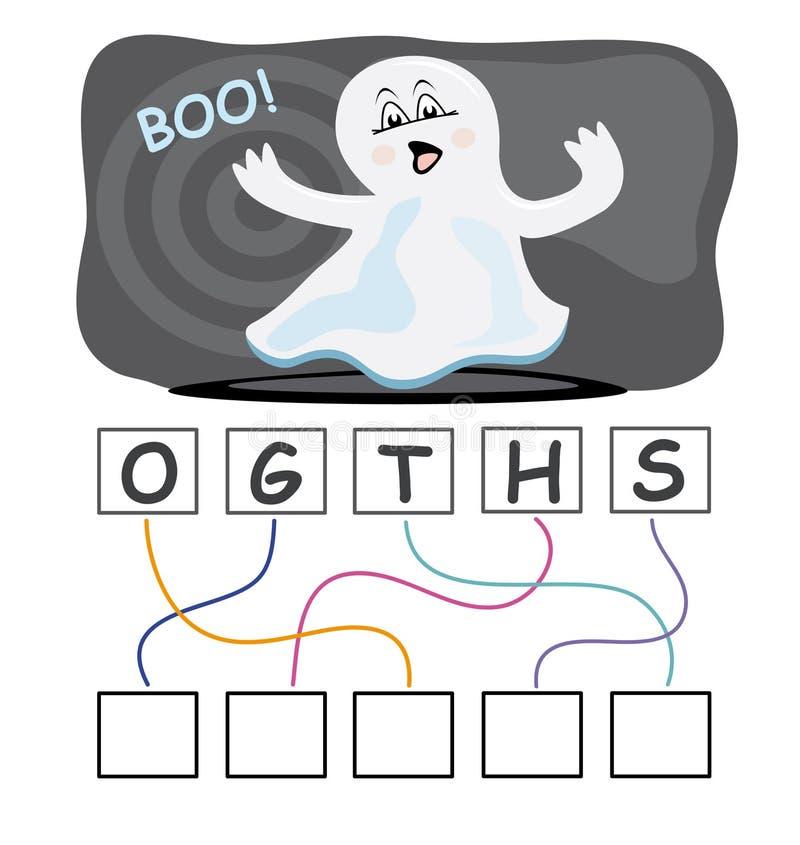 Jogo de palavra com fantasma ilustração stock