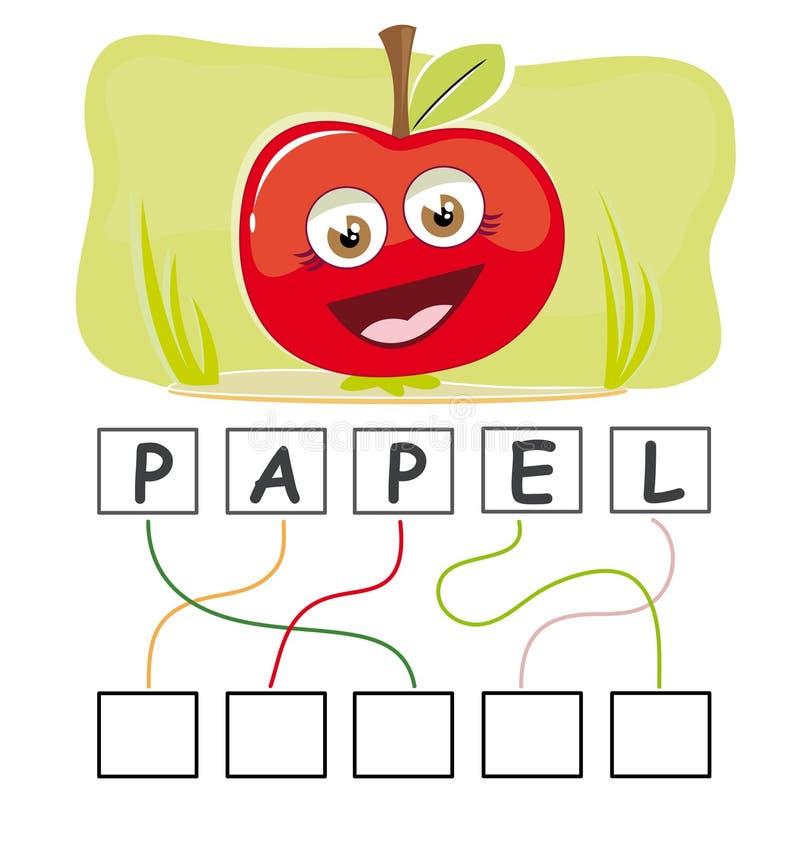 Jogo de palavra com maçã ilustração do vetor