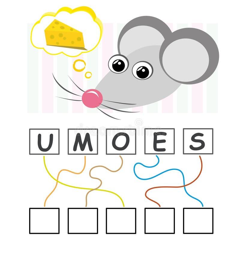 Jogo de palavra com rato ilustração stock