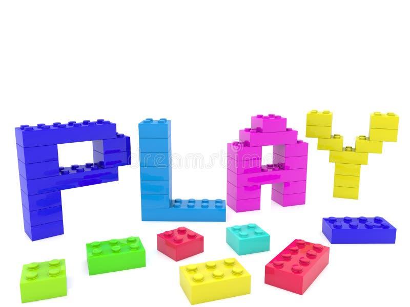 Jogo de palavra construído dos tijolos do brinquedo ilustração stock