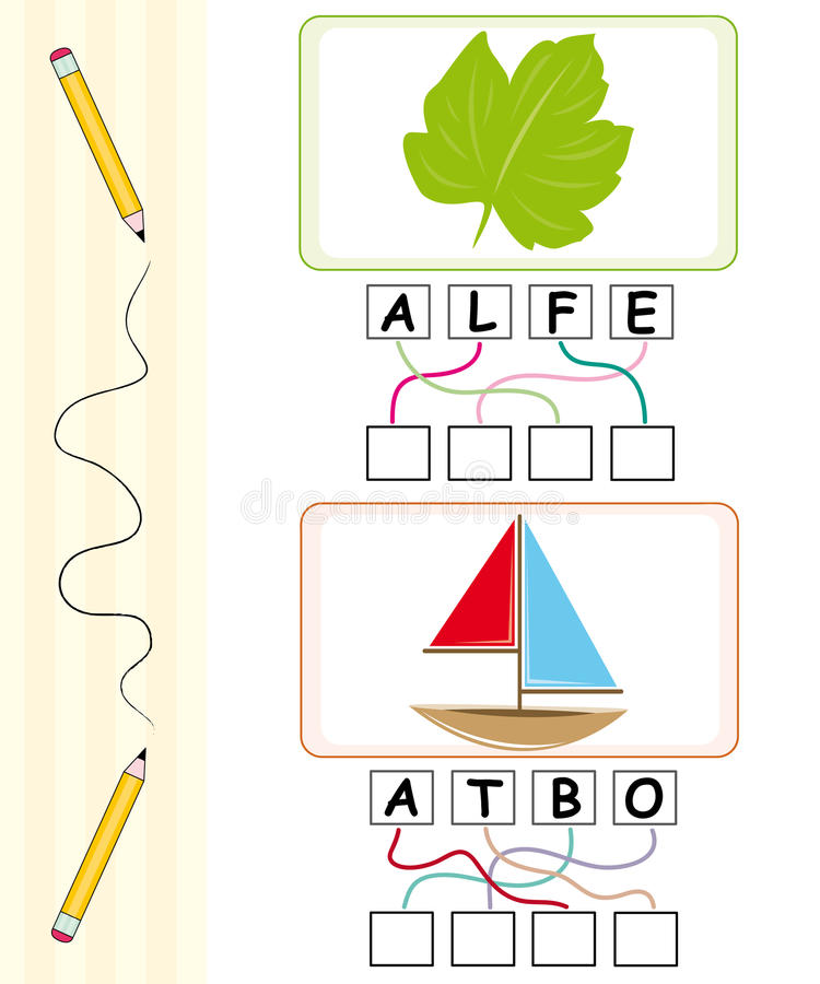 Jogo de palavra para miúdos - folha & barco ilustração stock