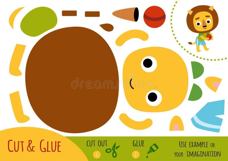 Jogo de papel da educação para crianças, leão e uma bola ilustração do vetor