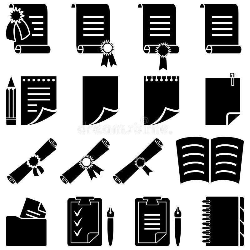 Jogo de papel do ícone do diploma e da folha ilustração do vetor