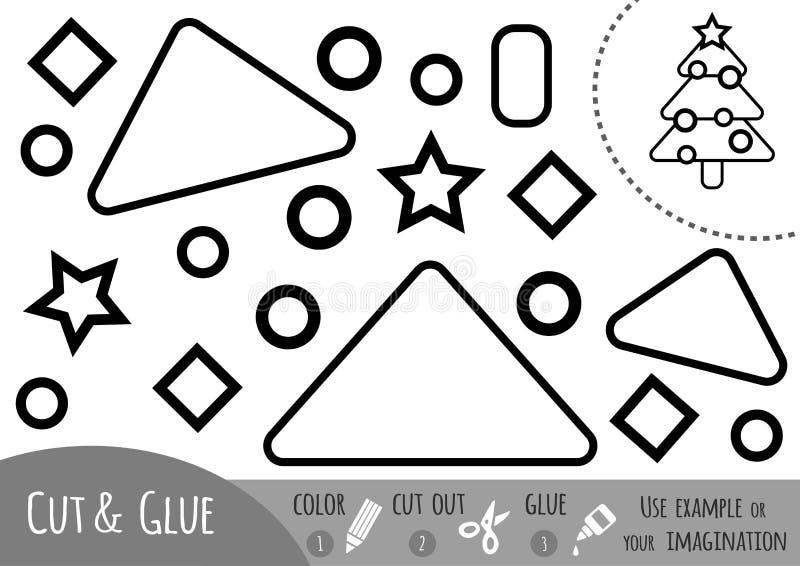 Jogo de papel para crianças, árvore da educação de Natal ilustração royalty free