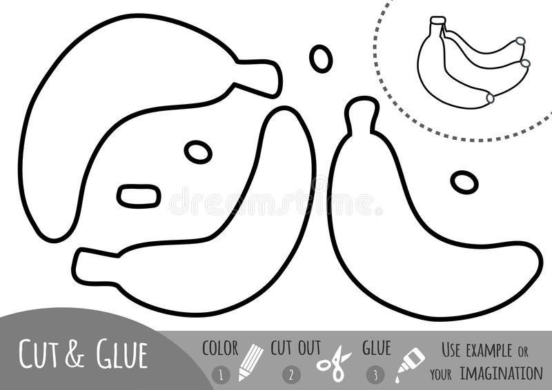 Jogo de papel para crianças, banana da educação ilustração stock