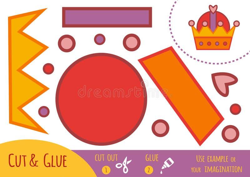 Jogo de papel para crianças, coroa da educação ilustração do vetor