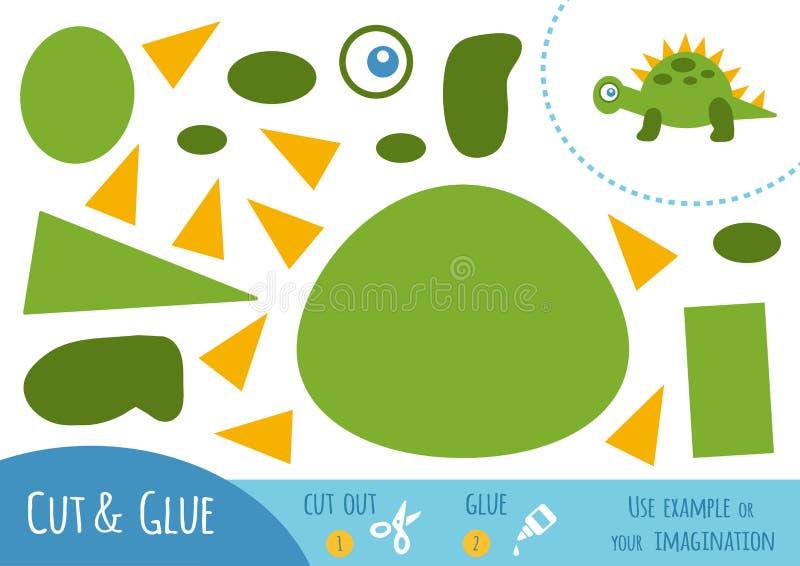 Jogo de papel para crianças, dinossauro da educação ilustração stock