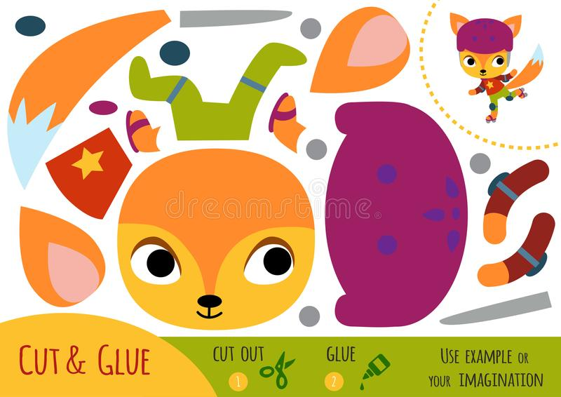 Jogo de papel para crianças, Fox da educação ilustração stock