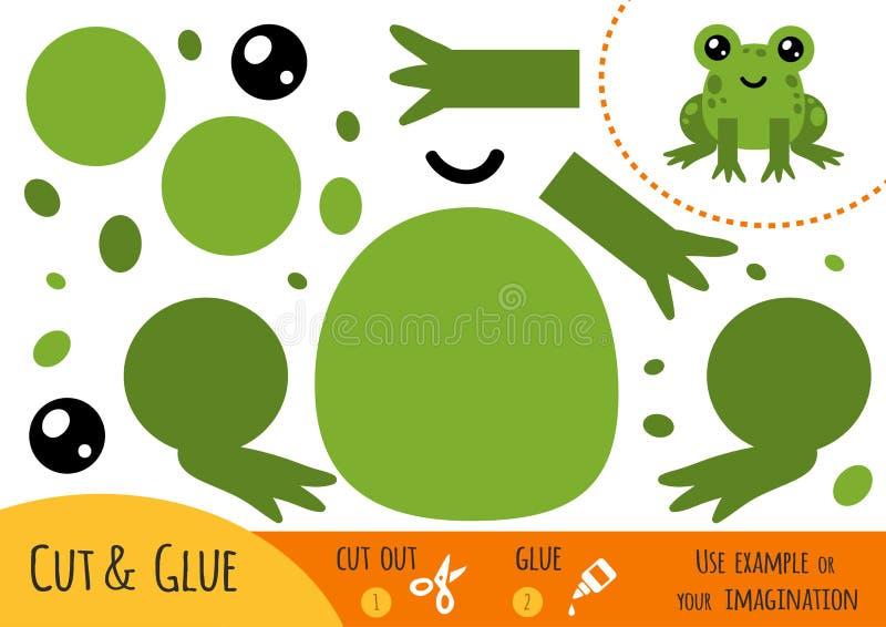 Jogo de papel para crianças, rã da educação ilustração do vetor