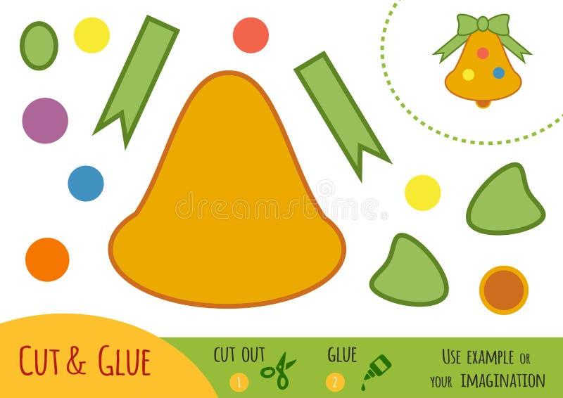 Jogo de papel para crianças, sino da educação de Natal ilustração do vetor