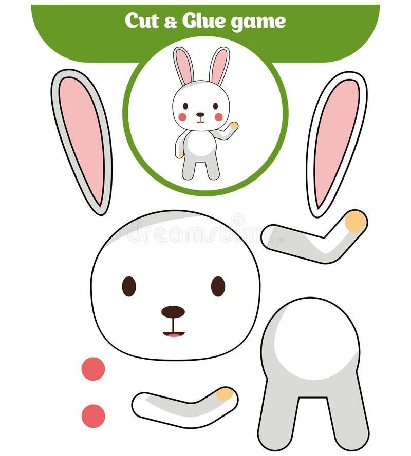 Jogo de papel para o desenvolvimento de crianças prées-escolar Corte partes da imagem e cole-as no papel ilustração stock