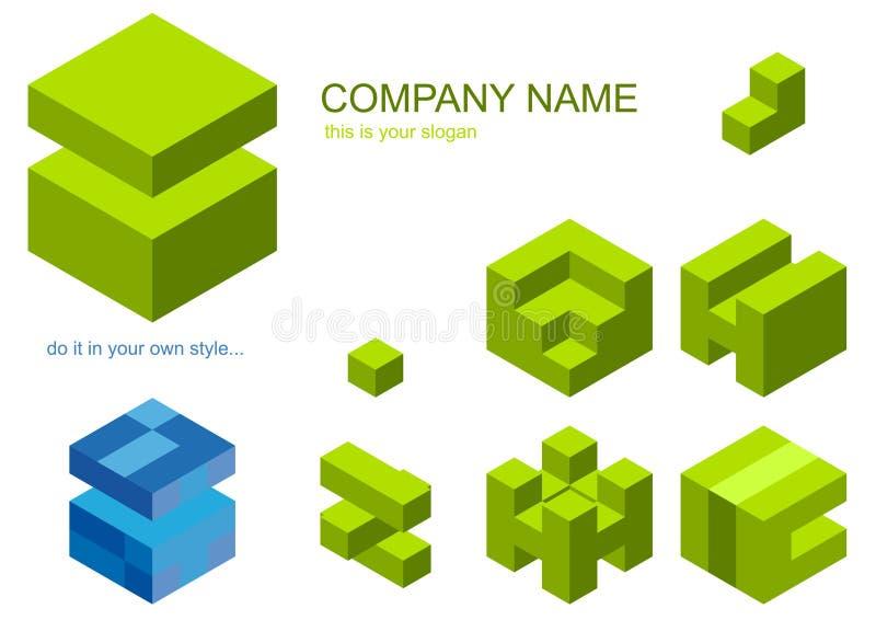 Jogo de partes do cubo para o logotipo ilustração royalty free