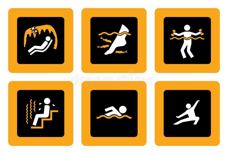 Jogo de pictograma de Spa&Wellness no preto II ilustração do vetor