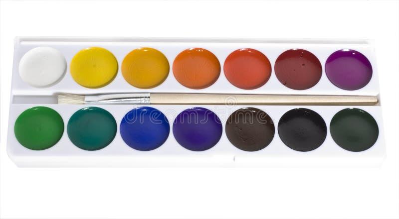 Jogo de pinturas da cor de água foto de stock