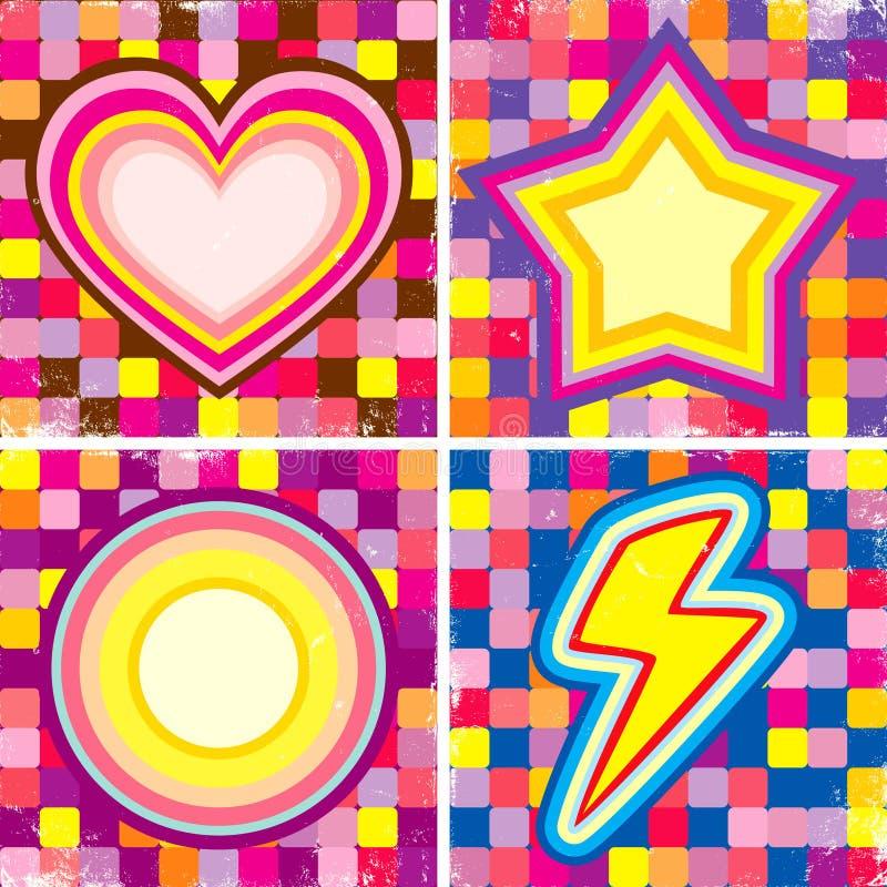 Jogo de posteres coloridos ilustração do vetor