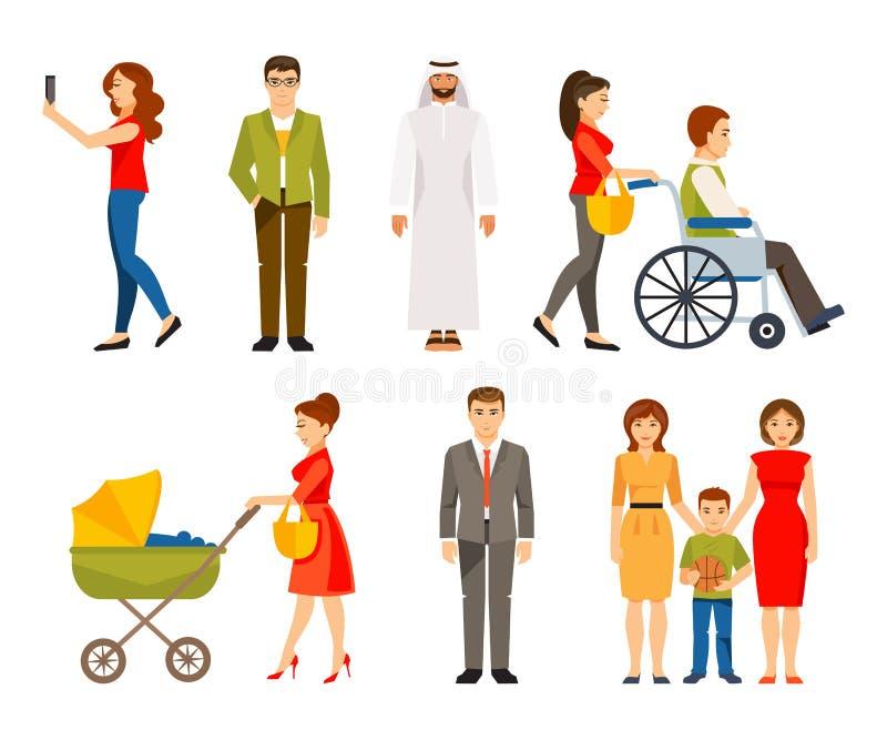 Jogo de povos diferentes Ilustração do vetor ilustração royalty free