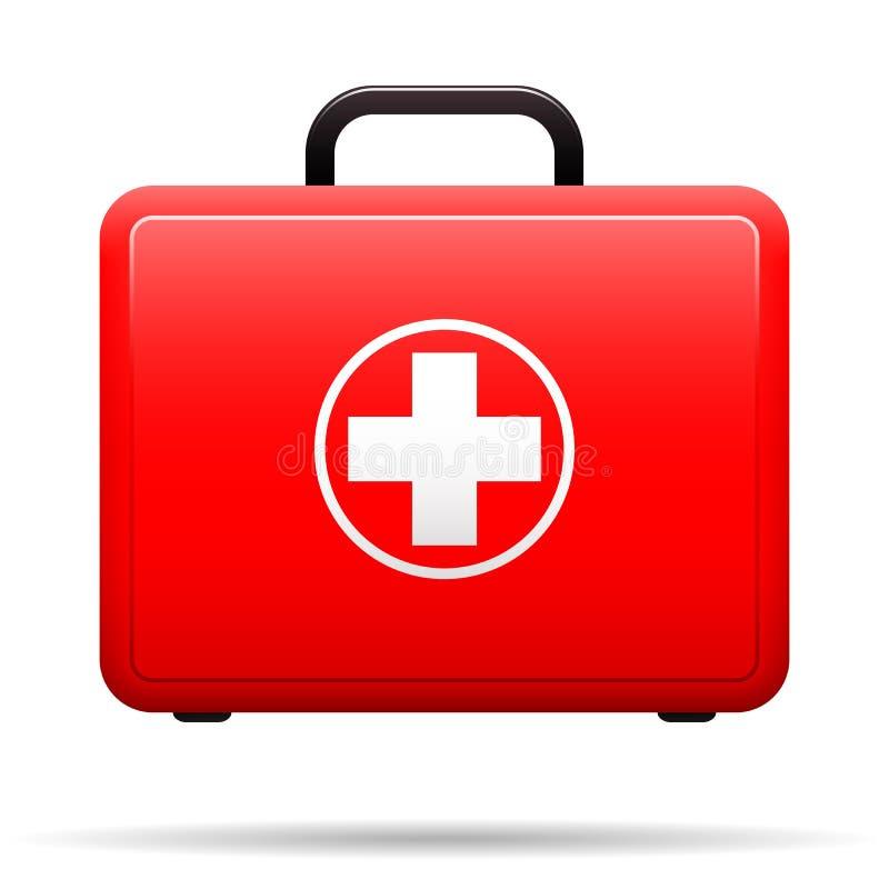 Jogo de primeiros socorros Caixa vermelha com emblema médico Caixa para medicamentações Mala de viagem com as ferramentas para pr ilustração stock