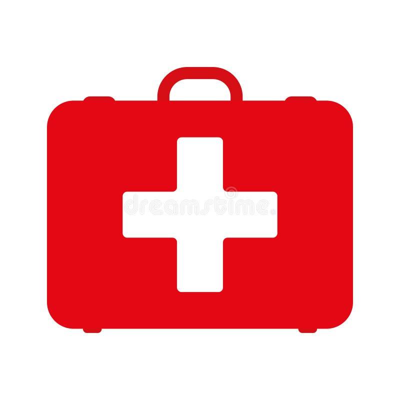 Jogo de primeiros socorros Kit de primeiros socorros branco isolado no fundo azul Saúde, ajuda e conceito médico dos diagnósticos ilustração do vetor