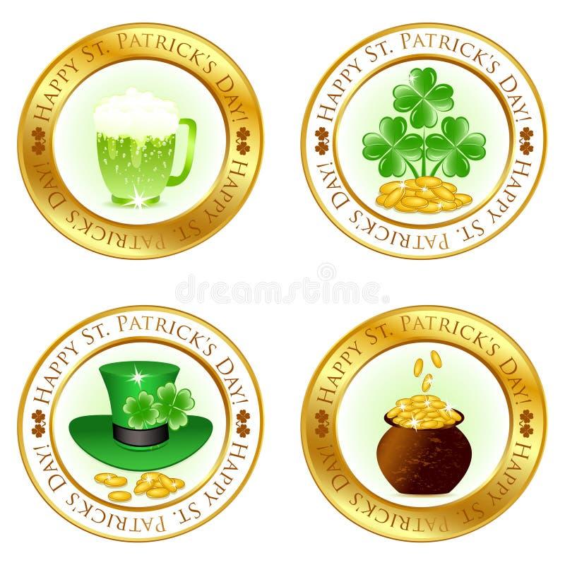jogo de quatro ícones lustrosos ilustração stock