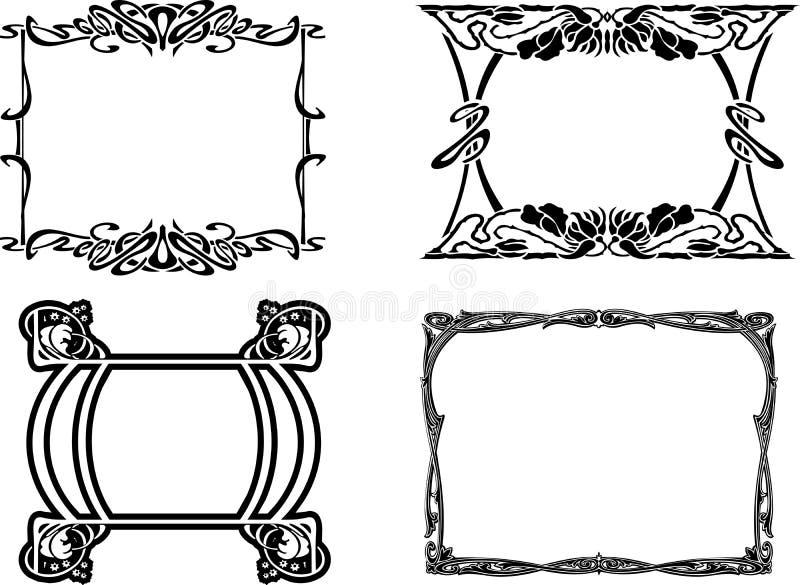 Jogo de quatro frames pretos barrocos ilustração do vetor