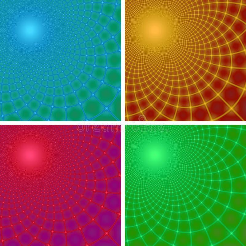 Jogo de quatro fundos abstratos do fractal imagem de stock royalty free