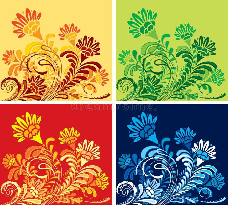 jogo de quatro fundos sazonais florais   ilustração do vetor