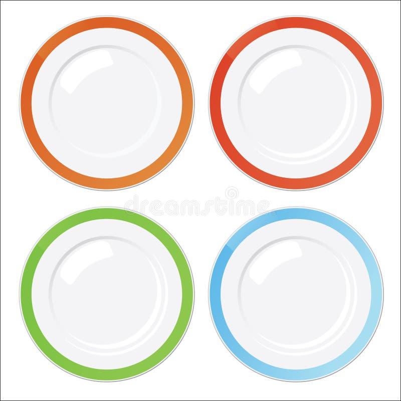 Jogo de quatro placas limpas com beiras coloridas ilustração do vetor