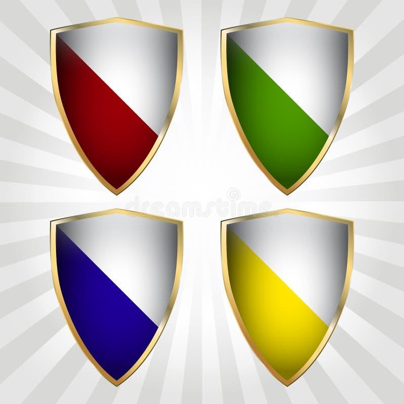 Jogo de quatro protetores ilustração do vetor