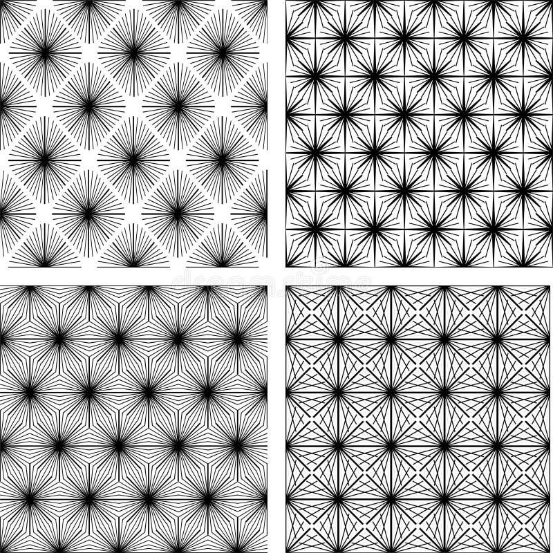 Jogo de quatro testes padrões geométricos monocromáticos ilustração royalty free