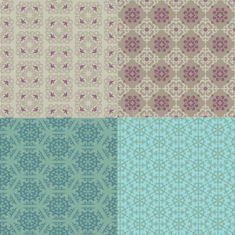 Jogo de quatro testes padrões sem emenda Cazaque, asiático, pancadinha floral, floral ilustração royalty free