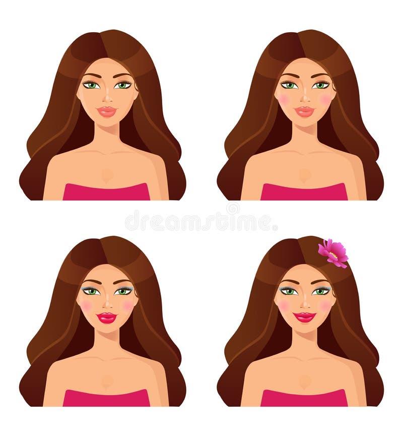 Jogo de retratos da mulher beleza Jogo das faces das meninas Bru bonito ilustração do vetor