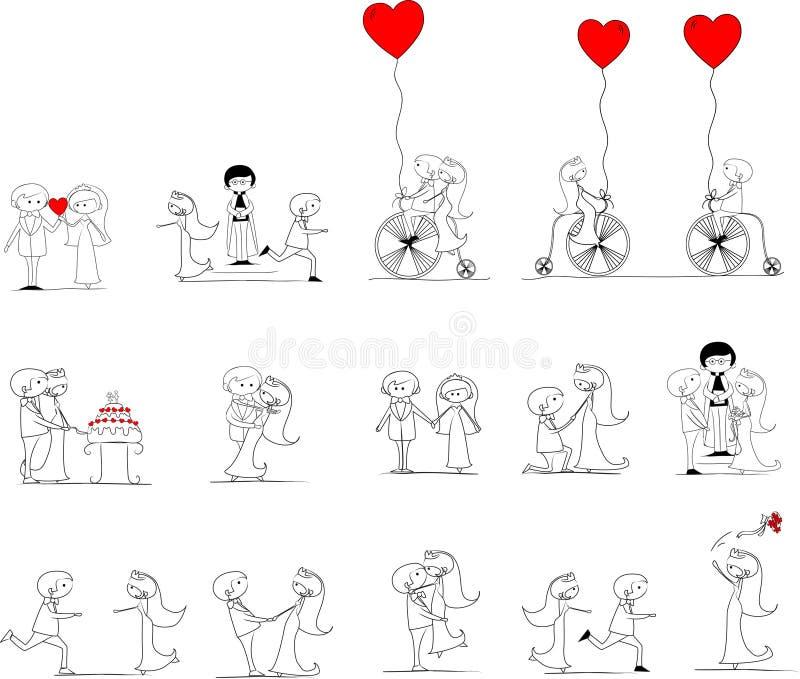 Jogo de retratos do casamento ilustração royalty free