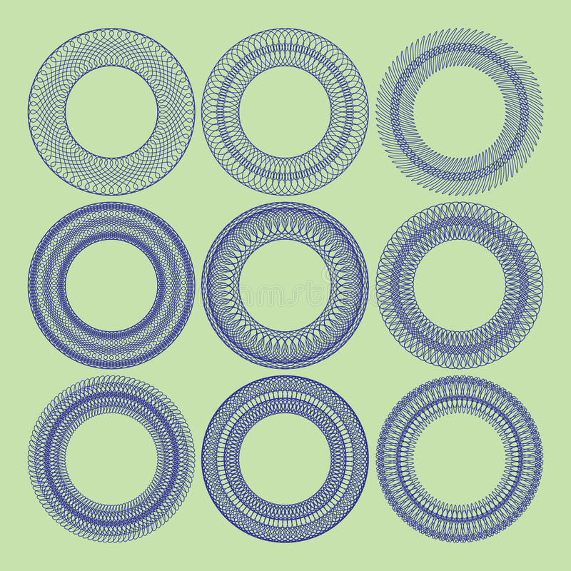 Jogo de rosettes do guilloche ilustração stock