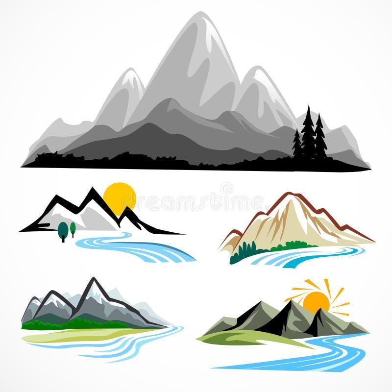 Jogo de símbolo abstrato da montanha e dos montes