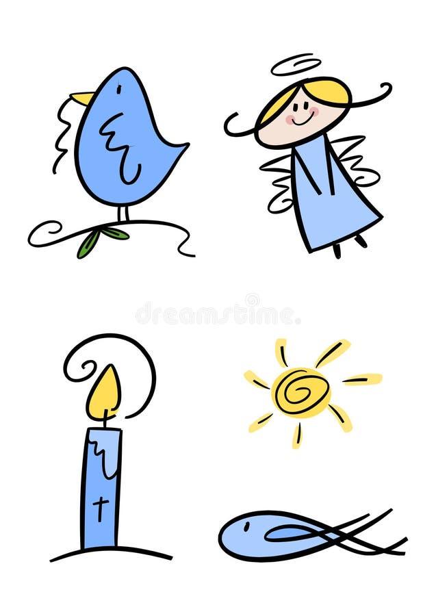 Jogo de símbolo cristão para miúdos ilustração do vetor