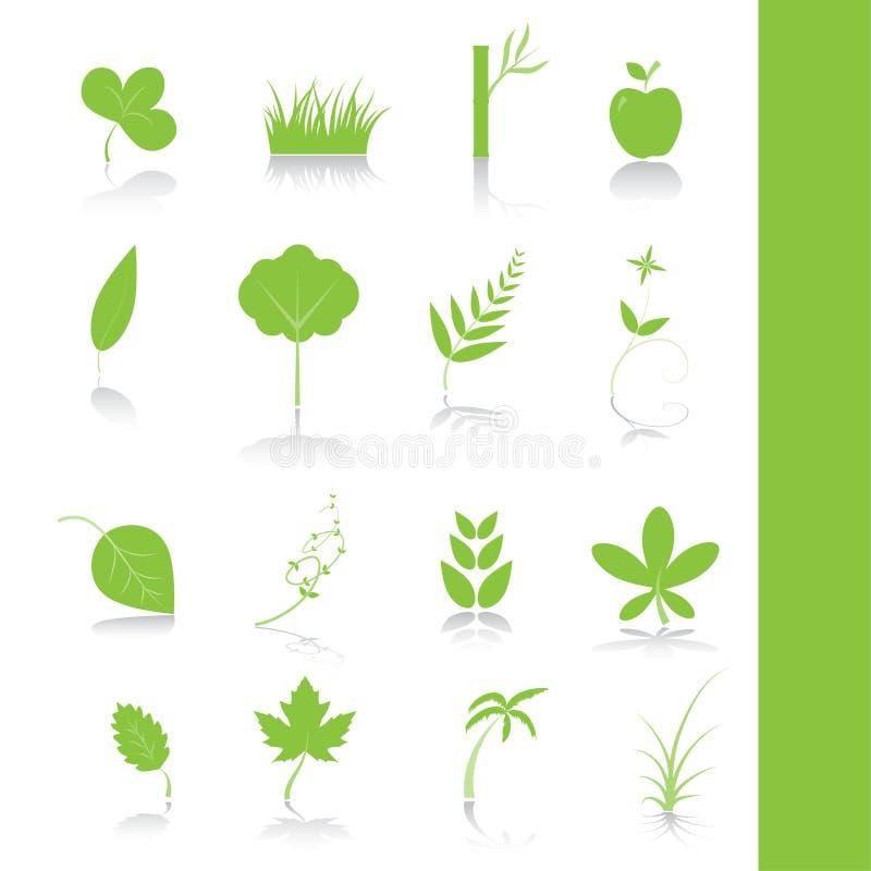 Jogo de símbolo do ícone das plantas verdes ilustração do vetor