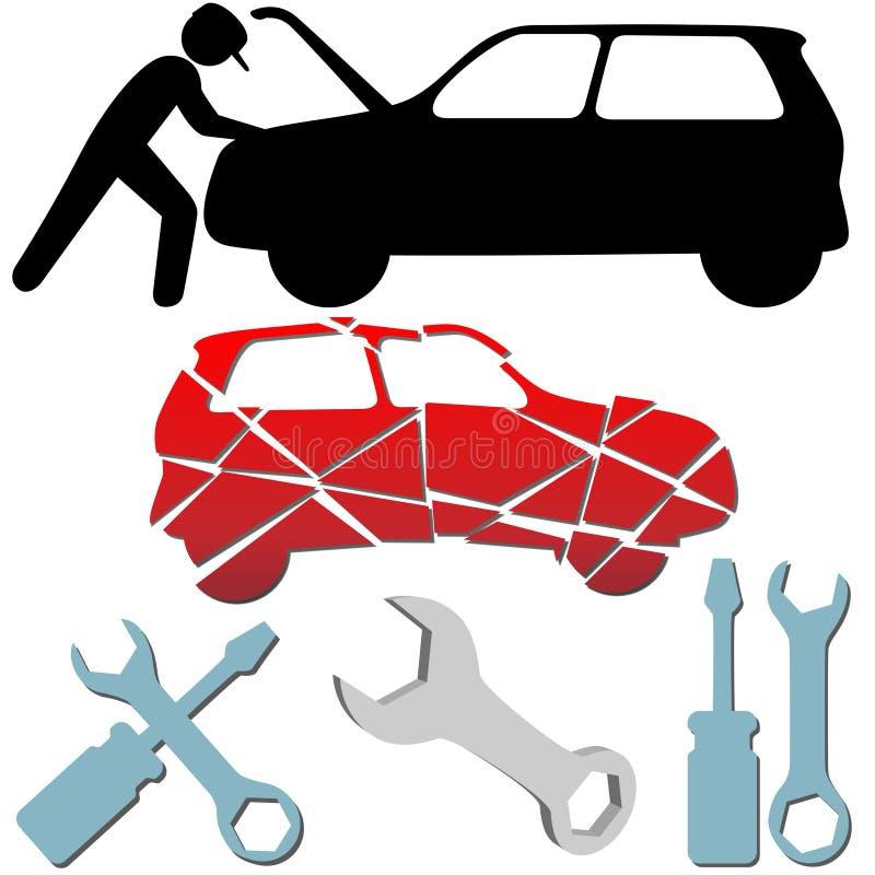 Jogo de símbolo do mecânico de carro da manutenção do auto reparo ilustração stock