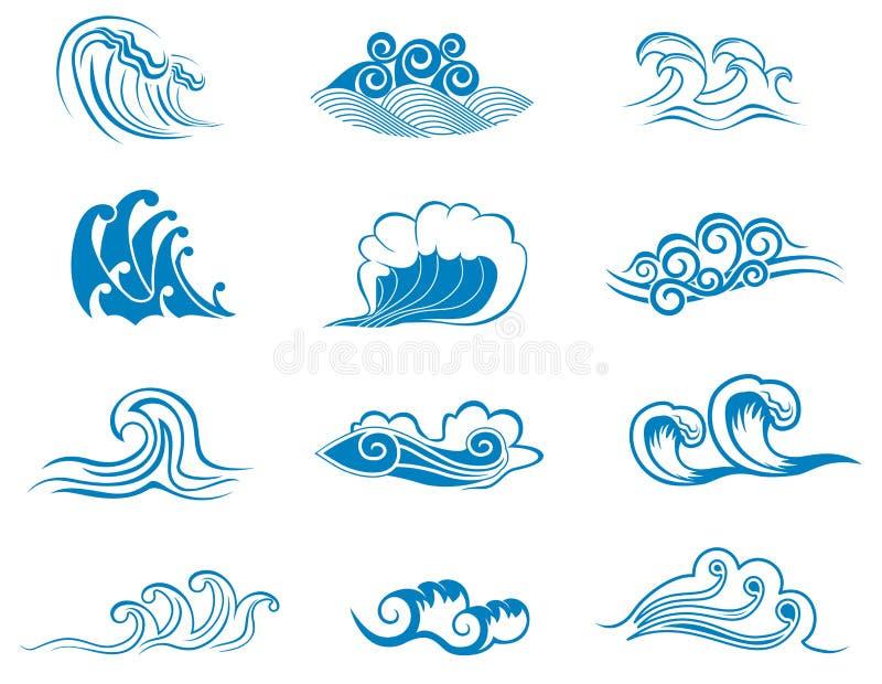Jogo de símbolos da onda ilustração stock