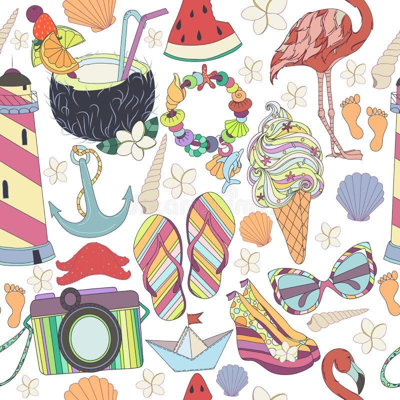 Jogo de símbolos de viagem O verão pattren Aprecie o conceito da vida ilustração royalty free
