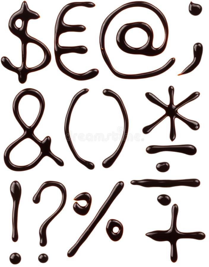 Jogo de símbolos do chocolate imagem de stock