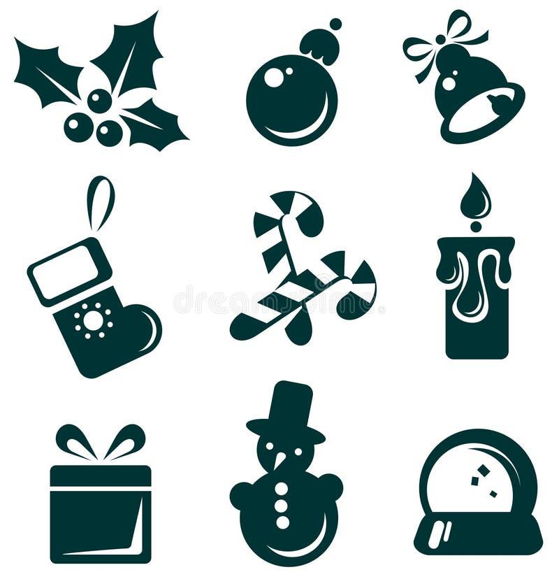 Jogo de símbolos do Natal ilustração royalty free